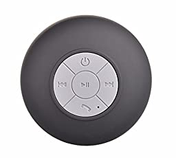 LOLERS Water Resistant Bluetooth Shower Speaker Wireless Portable Audio with Sucker Support Hands-free Calls Function Black