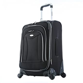 Olympia Luggage Luxe 21 Inch Expandable Carry-On Upright Bag, Black, One Size
