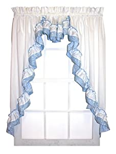 Amazon Com Country Bouquet Ruffle 3 Piece Swag Curtains
