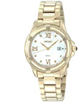 Dress Gold Tone stainless Steel Case and Bracelet Mother of Pearl Dial Quartz