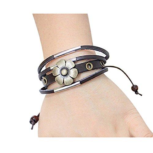 red-dandelion-lucky-flower-multilayer-adjustable-handmade-unisex-bracelet