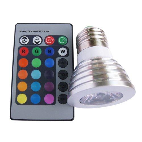 Aubig CL-50-5 3W 1x3W E27 RGB LED Lampe Scheinwerfer Spotlight 16 Farbwechsel mit IR-Fernbedienung 110V 220V