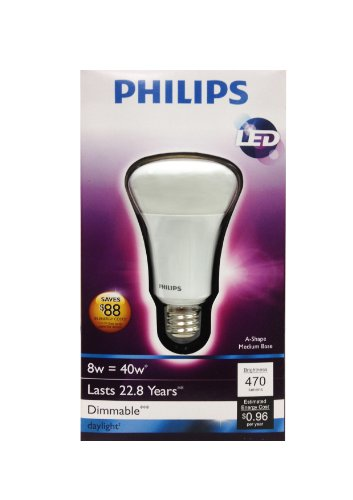 Philips 425256 8 Watt 40 Watt A19 Led Household Daylight