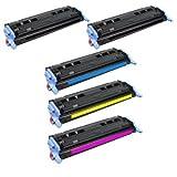 HQ Supplies 5 HP 124A 2 HP Q6000A 1 HP Q6001A 1 HP Q6002A 1 HP Q6003A Toner Cartridge Set (2 Black 1 Cyan 1 Yellow...
