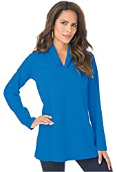 Roamans Women's Plus Size Shawl Collar Ultimate Tee