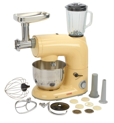 Cooks Professional Cream Electric Multifunction Retro Style Stand Mixer With 5.5 Litre Mixing Bowl + 1.5 Litre Blender + Meat Mincer & Attachments - 650 Watts.