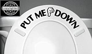 PUT ME DOWN Decal Bathroom Toilet Seat Vinyl Sticker Sign Reminder for Him (free glowindark switchplate decal) stickerciti Brand from Nobody cares about YOUR STICK FIGURE FAMILY