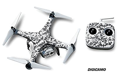 Designer decal wrap skin for DJI Phantom 2 Quadcopter Drone - Digicamo White