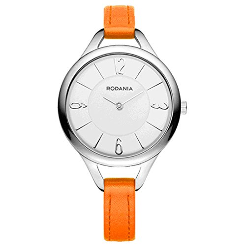 RODANIA 26089-24 32mm Stainless Steel Case Orange Calfskin Mineral Women's Watch