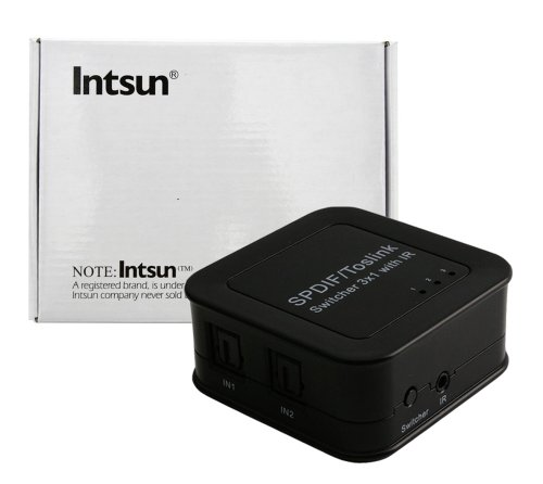 Intsun® Spdif Switcher 3X1, Toslink Switcher With Ir Remote Control, Reach 40M, Audio Switch Audio Selector, 3 Ways Optical Signals Switch To 1 Set Of Spdif/Toslink Signal Receive Device (Spdif 3X1 Switcher)