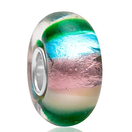 Artbeads Lampwork Murano Glass Beads Multicolor Gradient Color foil Glass Beads with 925 Sterling Silver Core Across