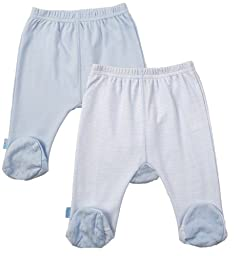 Kushies Everyday Layette 2 Pack Footed Pant, 1 Month, Blue Solid / Stripe