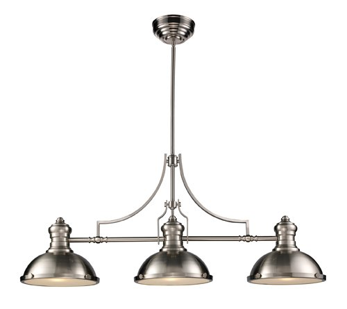 B0037U96QY ELK Lighting 66125-3 Chadwick 3-Light Billiard Light, 21-Inch, Satin Nickel