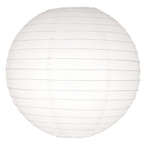16 Inch White Even Ribbing Round Paper Lantern