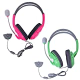 HDE 2 Pack Gaming Chat Headphones Headsets With Microphone Mic For Xbox 360 Live (Pink & Green)