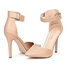 DREAM PAIRS OPPOINTED-ANKLE Women\'s Pointed Toe Ankle Strap D\'Orsay High Heel Stiletto Pumps Shoes Nude Pu Size 7.5