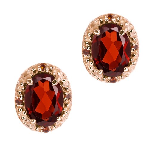 1.85 Ct Oval Red Garnet and Cognac Red Diamond 14k Rose