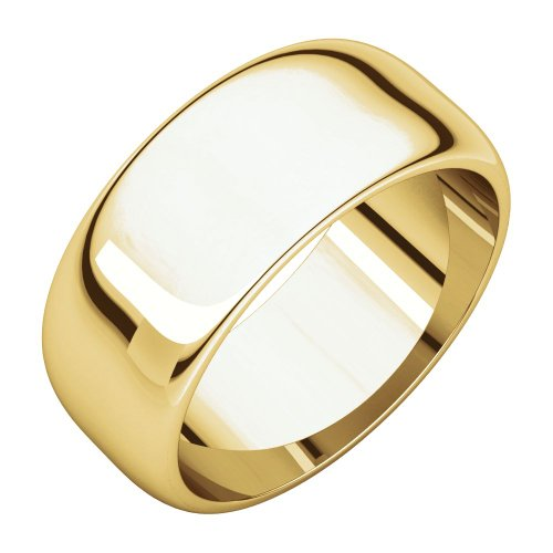 08.00 Mm Half Round Wedding Band Ring In 18K Yellow Gold (Size 11 )