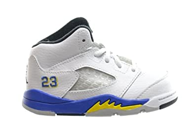 Buy Jordan 5 Retro (TD) Baby Toddlers Basketball Shoes White Varsity Royal-Black... by Jordan