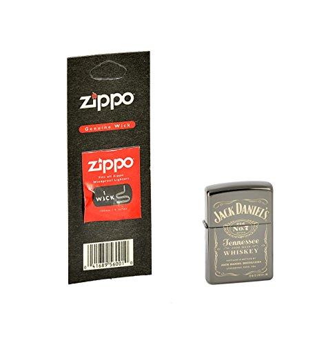 Zippo, Accendino, Argento (Edelstahloptik), motivo: Jack Daniel's con stoppino di ricambio, colore: Nero
