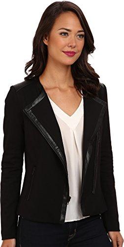 NYDJ Women's Ponte And Faux Leather Moto Jacket, Black, XLarge