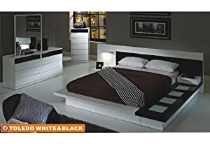 American Eagle Furniture Toledo White Black High Gloss Queen Size Bedroom Set