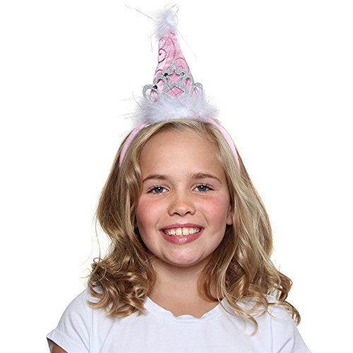 Girls Princess Tiara Cone Hat Headband, Pink