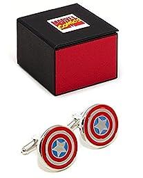 MARVEL Avengers Captain America Shield Cufflinks + Marvel Gift Box