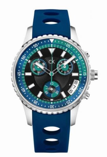 Calvin Klein Challenge Chronograph Blue Ext-Silicon Mens Watch K3217377