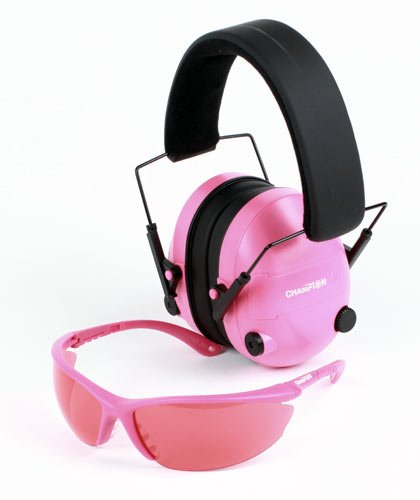 Champion Electronic Ear Muffs & Shooting Glasses - Pink Package