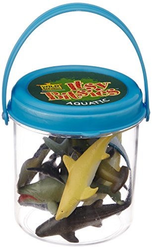 Itsy Bitsies Mini Bucket Aquatic Playset: Set of 10 Mini Plastic Sea Creatures Figures