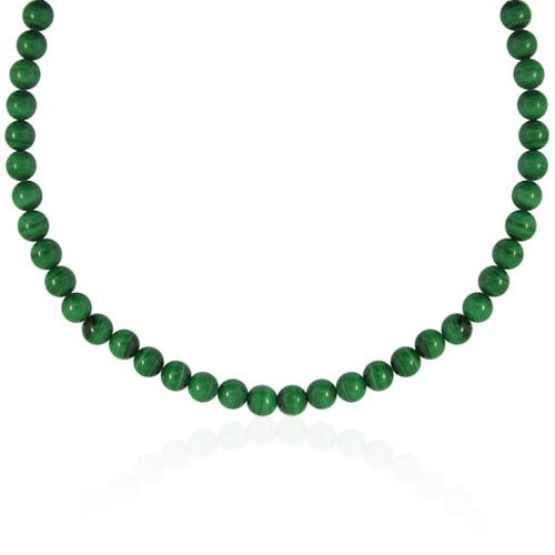 6mm Round Malachite Bead Necklace, 30+2