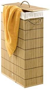 Wenko 7879500 wall grip secura white 29 cm extra schmal bamboo 39 x 60 x 18 5 cm brown - Narrow laundry hamper ...