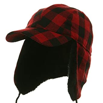 Buffalo Plaid Hunter Cap - Red W28S34E - L/XL