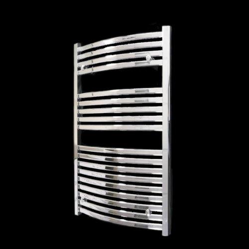 Modena Curved Chrome Heated Bathroom Towel Rail Radiator 1000 x 600 mm
