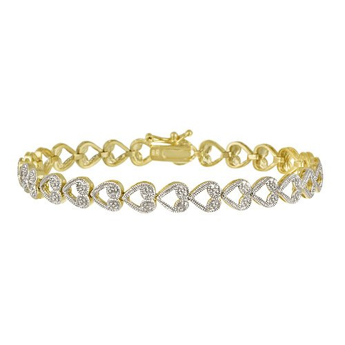 18k Gold Over Sterling Silver Diamond Accent Heart-Link Bracelet