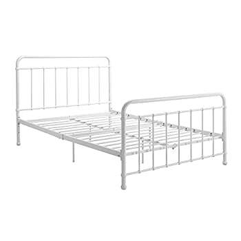 "DHP Brooklyn Metal Iron Bed w/ Headboard and Footboard, Adjustable height (7"" or 11"" clearance for storage), Sturdy Slats Included, No Box Spring Required, Full Size Mattress, White"