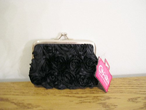 Caboodles Pixie Purse Coin Wallet Black Rose Fabric