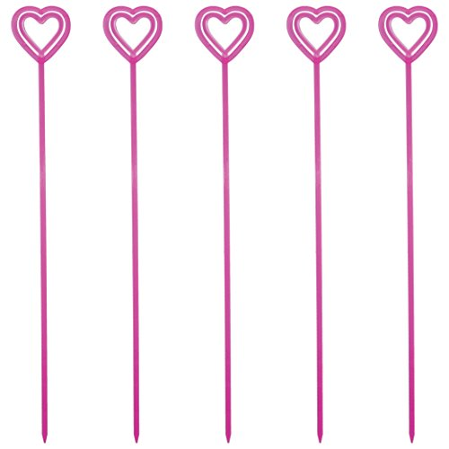 Royer 12 Inch Plastic Heart Floral Picks, Card Holders, Set of 100 (Transparent Pink) – Made In USA