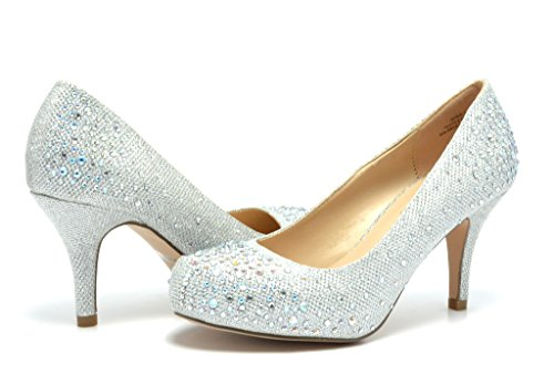 DREAM PAIRS ROMA-1 Women's Bridal Wedding Party Glitter Rhinestone Low Heel Platform Pump Shoes SILVER-GLITTER SIZE 7.5