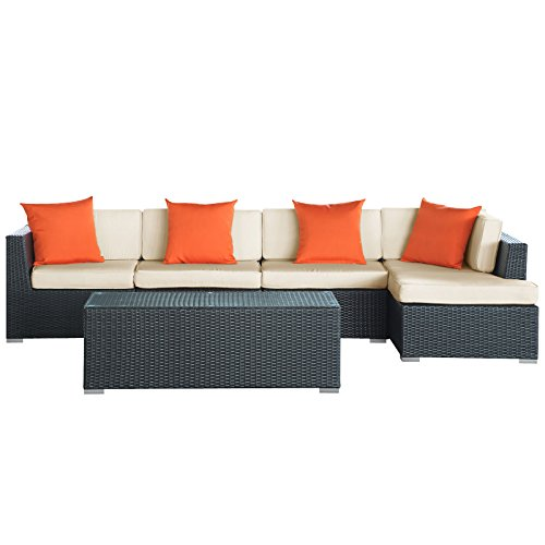 LexMod Signal Outdoor Wicker Patio 5 Piece Sectional Sofa Set picture