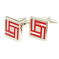 Peluche Red Brass While Mother of Pearl Cufflink
