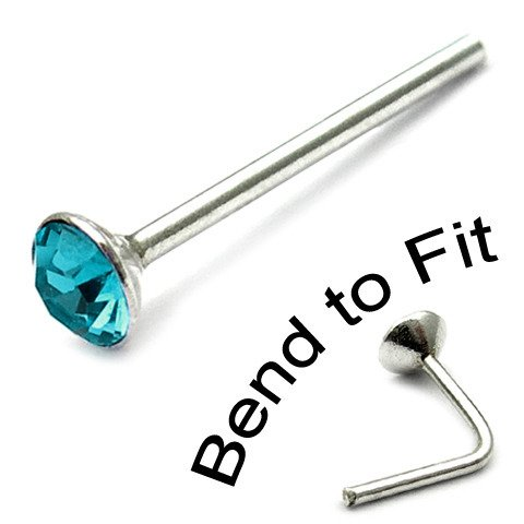 Sterling Silver Swarovski Crystal Nose Stud. Turquoise 2mm round gem. TDi-ST2 single stud