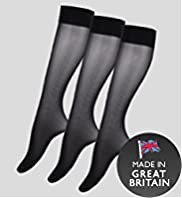 3 Pairs of 40 Denier Opaque Knee Highs