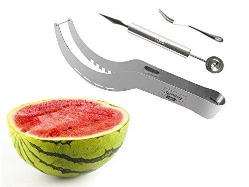 Agooding Watermelon Knife Slicer 3-in-1 Kit, Premium Stainless Steel Slicer avec Melon Baller & Fruit Fork, améliorée et un design unique pour un facile, Mess gratuit, Accueille les enfants (Sliver)
