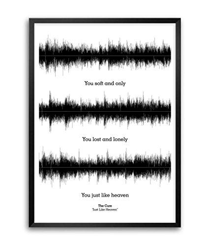 """Lab n. 4 """"The Cure Just Like"""" Heaven Poster con citazioni di canzoni, con cornice A3 41,91 cm x (16,5 29,72 (11,7 cm)"""