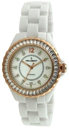 Peugeot Swiss Women's PS4885WRG Ceramic Swarovski Crystal Rose Gold White Dial Watch