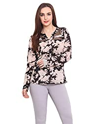 Floral Printed Top With Asyemetric Net Detailing Small