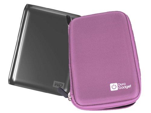 Duragadget Pink Shell Hard Eva Cover Case With Dual Zips For Wd Elements 1Tb / 2Tb / Western Digital My Passport 1Tb / 500Gb / My Passport Essential Se Wdbacx0010Bbl 1 Tb External Hard Drive (6.4 Cm (2.5 Inch) Usb 3.0) Metallic Blue