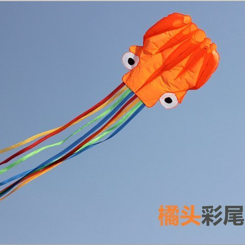 Hivel 3D Doux Poulpe Cerf Volant Pieuvre 4m Soft Sport Kite Octopus Parafoil Cerf Volant - Orange avec Colore Queue